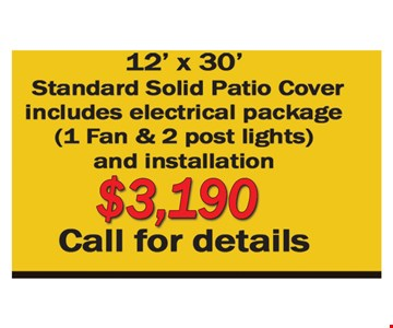 $3190 12' x 30' standard solid patio cover