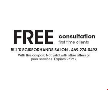 Free consultation first time clients. With this coupon. Not valid with other offers or prior services. Expires 2/3/17.