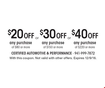 $40 Off any purchase of $220 or more. $20 Off any purchase of $80 or more. $30 Off any purchase of $150 or more. With this coupon. Not valid with other offers. Expires 12/9/16.