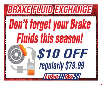 $10 Off Brake Fluid Exchange