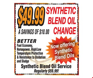 $49.99 Synthetic Blend Oil Change