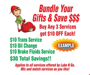 Buy any 3 services get $10 off each! $10 trans service, $10 oil change and $10 brake fluids service. $30 total savings!