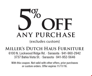5% off any purchase (excludes custom). With this coupon. Not valid with other offers, prior purchases or custom orders. Offer expires 11/11/16.