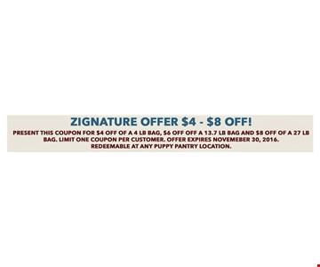 Zignature Offer $4-$8 off