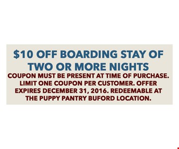 $10 Off Boarding Stay of Two or More Nights