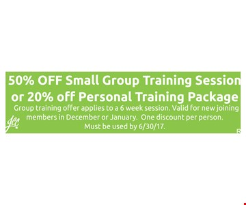 50% Off Small Group Training Session or 20% Off Personal Training Package