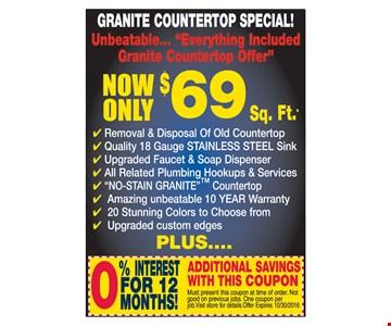 Granite Countertop Special $69 Sq. Ft.