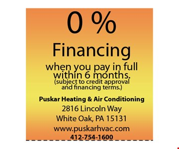0% financing when you pay in full within 6 months.