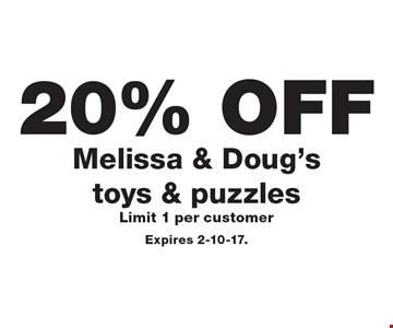 20% Off Melissa & Doug's toys & puzzles. Limit 1 per customer. Expires 2-10-17.