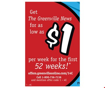 Get Greenville News for as low as $1