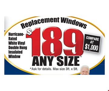 $189 installed replacement windows