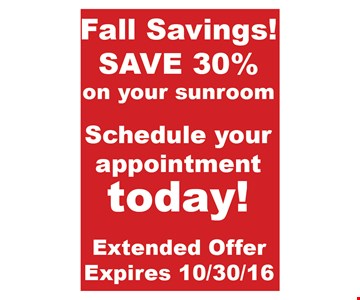 30% off your sunroom