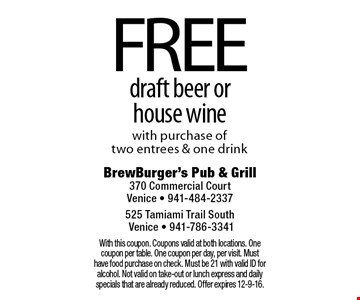 FREE draft beer or house wine with purchase of two entrees & one drink. With this coupon. Coupons valid at both locations. One coupon per table. One coupon per day, per visit. Must have food purchase on check. Must be 21 with valid ID for alcohol. Not valid on take-out or lunch express and daily specials that are already reduced. Offer expires 12-9-16.