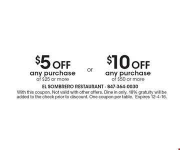 $5 Off any purchase of $25 or more OR $10 Off any purchase of $50 or more. With this coupon. Not valid with other offers. Dine in only. 18% gratuity will be added to the check prior to discount. One coupon per table. Expires 12-4-16.