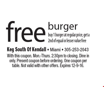 Free burger. Buy 1 burger at regular price, get a 2nd of equal or lesser value free. With this coupon. Mon.-Thurs. 2:30pm to closing. Dine in only. Present coupon before ordering. One coupon per table. Not valid with other offers. Expires 12-9-16.