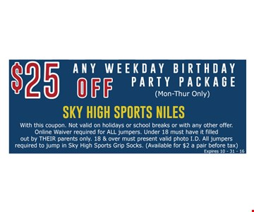 $25 off any weekday birthday party package