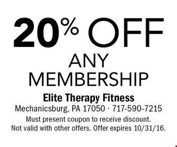 20% off any membership. Must present coupon to receive discount. Not valid with other offers. Offer expires 10/31/16.