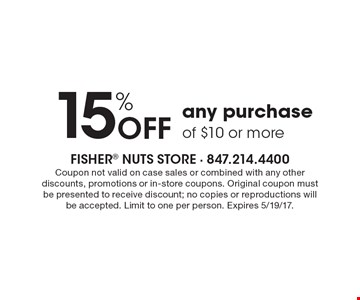 15% OFF any purchase of $10 or more. Coupon not valid on case sales or combined with any other discounts, promotions or in-store coupons. Original coupon must be presented to receive discount; no copies or reproductions will be accepted. Limit to one per person. Expires 5/19/17.