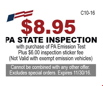 $8.95 PA State Inspection