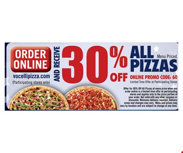 30% Off All Pizzas