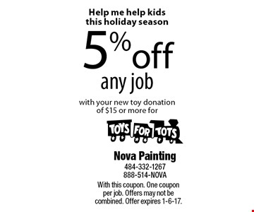 Help me help kids this holiday season! 5% off any job with your new toy donation of $15 or more for Toys For Tots. With this coupon. One coupon per job. Offers may not be combined. Offer expires 1-6-17.
