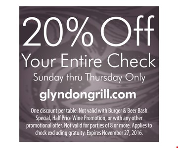 20% off your entire check
