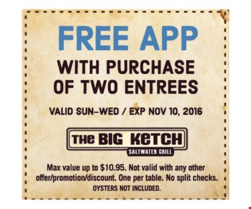 Free app with purchase of two entrees. Valid Sun-Wed. Exp Nov 10, 2016. Max value up to $10.95. Not valid with any other offer, promotion or discount. One per table. No split checks.