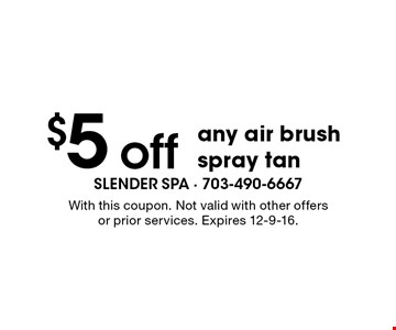 $5 off any air brush spray tan. With this coupon. Not valid with other offers or prior services. Expires 12-9-16.