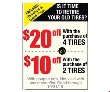 $10 to $20 off tires
