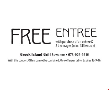 FREE entree with purchase of an entree & 2 beverages (max. $15 entree). With this coupon. Offers cannot be combined. One offer per table. Expires 12-9-16.