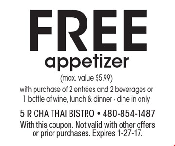 FREE appetizer (max. value $5.99) with purchase of 2 entrees and 2 beverages or 1 bottle of wine, lunch & dinner. Dine in only. With this coupon. Not valid with other offers or prior purchases. Expires 1-27-17.