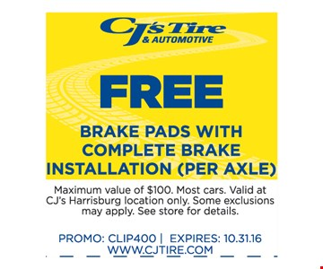 Free Brake Pads with Complete Brake Installation (per axle)
