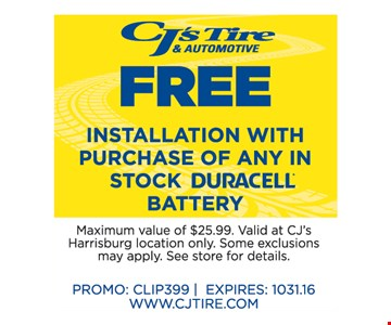 Free Installation with Purchase of any in Stock Duracell Battery