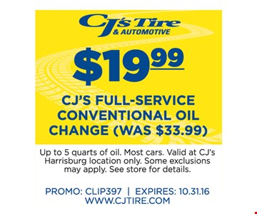 $19.99 CJ's Full-Service Conventional Oil Change (was $33.99)