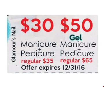 $30 Manicure and Pedicure or $50 Gel Manicure and Pedicure