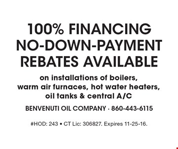 100% Financing NO-DOWN-PAYMENT Rebates Available on installations of boilers, warm air furnaces, hot water heaters, oil tanks & central A/C. #HOD: 243 - CT Lic: 306827. Expires 11-25-16.