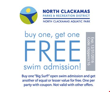 Buy One, Get One Free Swim Admission