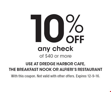 10% Off any check of $40 or more. With this coupon. Not valid with other offers. Expires 12-9-16.
