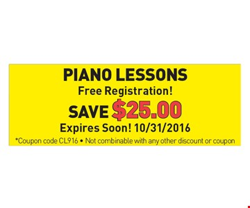 Piano Lessons, Free Registration! Save $25