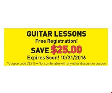 Guitar Lessons, Free Registration! Save $25