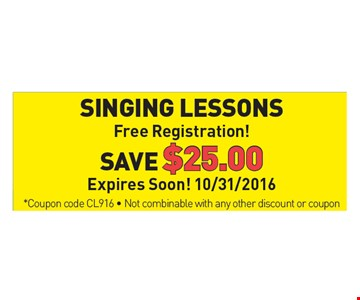 Single Lessons, Free Registration! Save $25