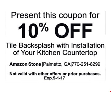10% OFF Tile Backsplash With Installation Of Your Kitchen Countertop