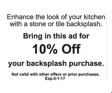 10% off your backsplash purchase