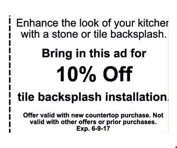 10% off tile backsplash installation