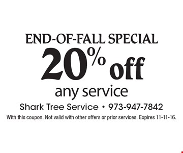 END-OF-FALL Special 20% off any service. With this coupon. Not valid with other offers or prior services. Expires 11-11-16.