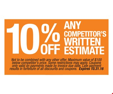 10% off any competitors written estimate