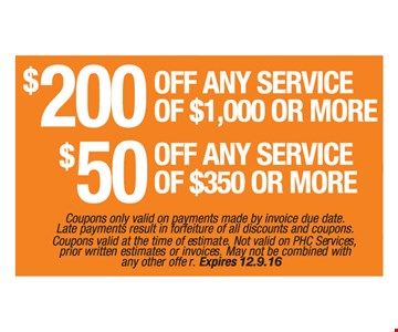 $200 Off Any Service of $1,000 or More, $50 Off Any Service of $350 or More