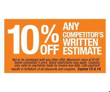10% Off Any Competitor's Written Estimate