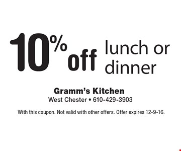 10% off lunch or dinner. With this coupon. Not valid with other offers. Offer expires 12-9-16.