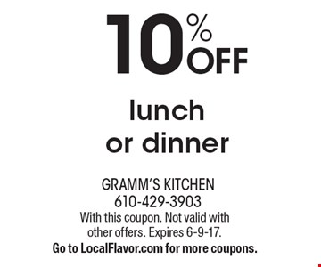 10% OFF lunch or dinner. With this coupon. Not valid with other offers. Expires 6-9-17.Go to LocalFlavor.com for more coupons.